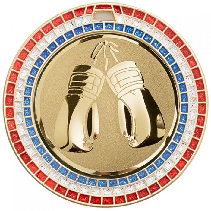 GOLD 70MM KICKBOXING MEDAL - GEM EFFECT